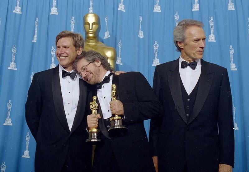 Фільм «66-я церемония вручения премии «Оскар»» (1994): Клінт Іствуд, Гаррісон Форд, Стівен Спілберґ 800x552